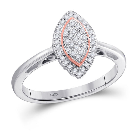 10kt White Gold Womens Round Diamond Rose-tone Frame Oval Cluster Ring 1/6 Cttw