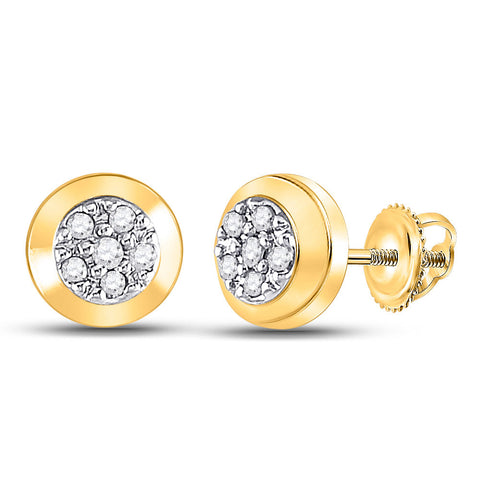 10kt Yellow Gold Womens Round Diamond Cluster Earrings 1/12 Cttw