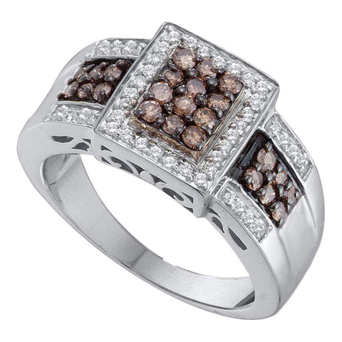 14kt White Gold Womens Round Brown Diamond Cluster Ring 5/8 Cttw