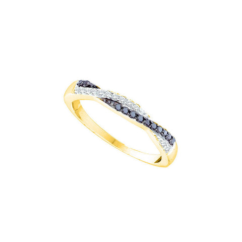 14kt Yellow Gold Womens Round Black Color Enhanced Diamond Slender Twist Band 1/4 Cttw