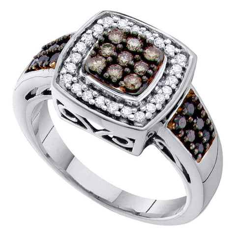 14kt White Gold Womens Round Brown Diamond Square Cluster Ring 1/2 Cttw
