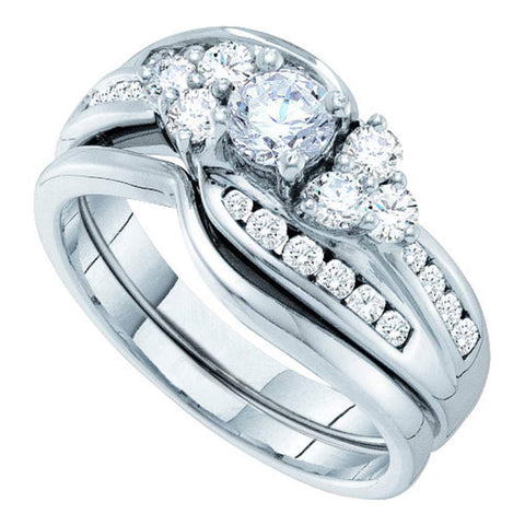 14kt White Gold Round Diamond Bridal Wedding Ring Band Set 1 Cttw
