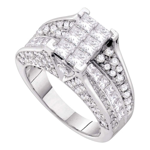 14kt White Gold Princess Diamond Cluster Bridal Wedding Engagement Ring 3 Cttw