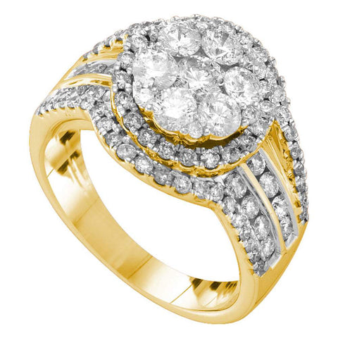 14kt Yellow Gold Womens Round Diamond Flower Cluster Ring 2 Cttw