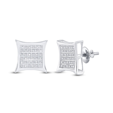 Sterling Silver Womens Round Diamond Kite Square Earrings 1/8 Cttw