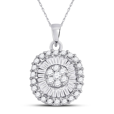 14kt White Gold Womens Round Diamond Flower Cluster Pendant 3/4 Cttw
