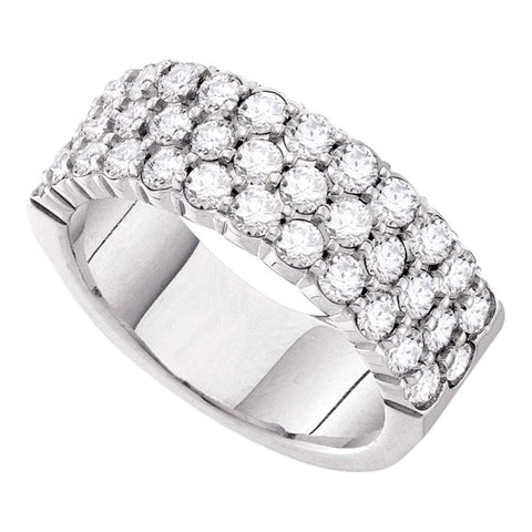 14kt White Gold Womens Round Diamond Triple Row Pave Band Ring 3 Cttw