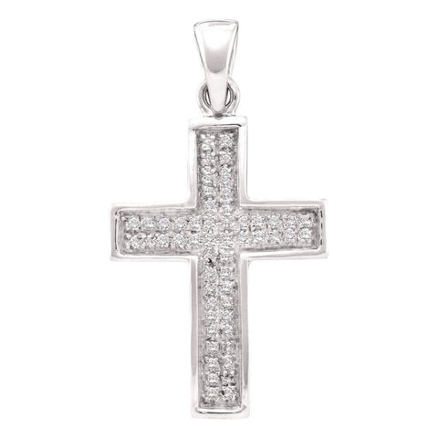 10kt Yellow Gold Womens Round Diamond Cross Pendant 1/6 Cttw
