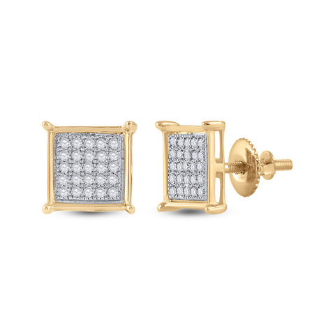 10kt Yellow Gold Womens Round Diamond Square Earrings 1/6 Cttw
