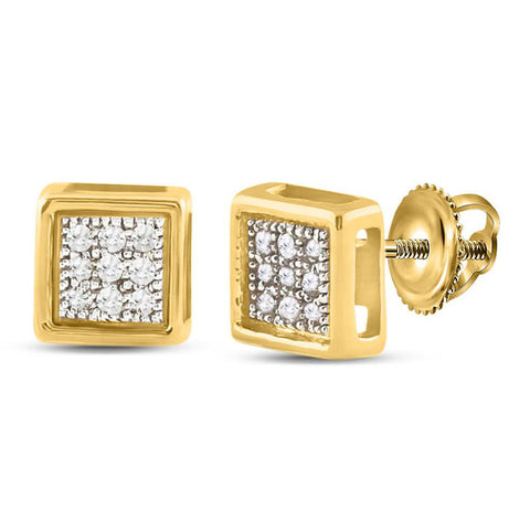 10kt Yellow Gold Womens Round Diamond Square Earrings 1/20 Cttw