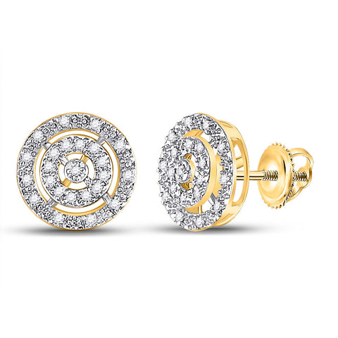 10kt Yellow Gold Womens Round Diamond Circle Stud Earrings 1/20 Cttw