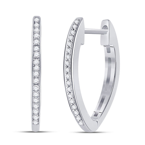 10kt White Gold Womens Round Diamond Hoop Earrings 1/10 Cttw