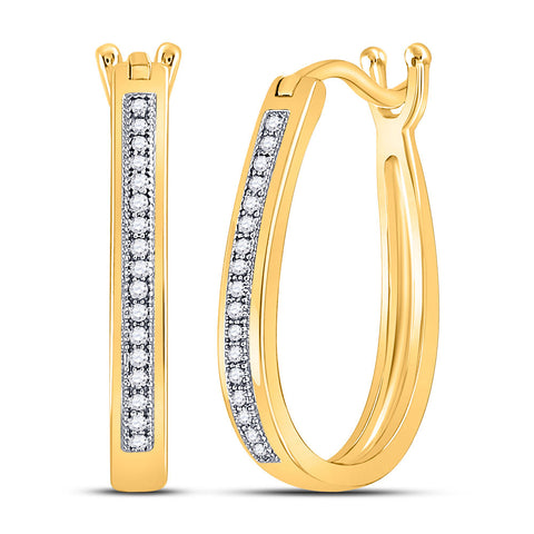 10kt Yellow Gold Womens Round Diamond Oblong Hoop Earrings 1/10 Cttw