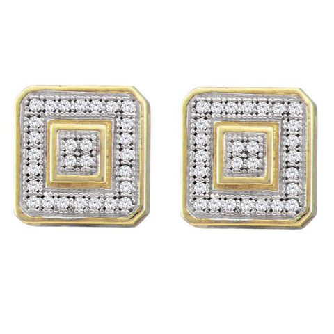 10kt Yellow Gold Mens Round Diamond Square Cluster Earrings 1/6 Cttw