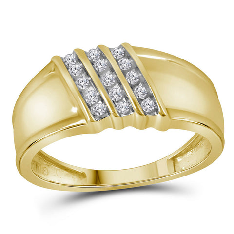 10kt Yellow Gold Mens Round Diamond Band Ring 1/6 Cttw