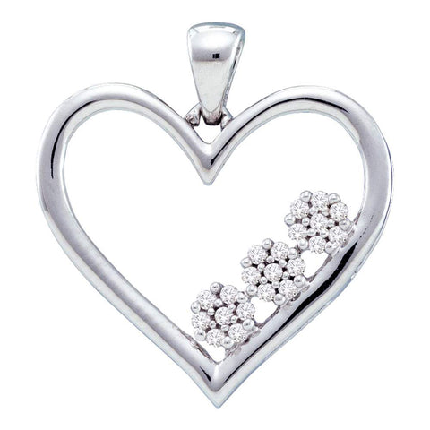 10kt White Gold Womens Round Diamond Heart Pendant 1/20 Cttw