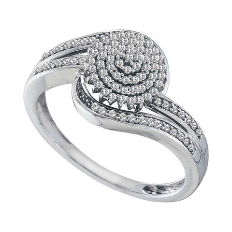 10kt White Gold Womens Round Diamond Cluster Ring 1/3 Cttw