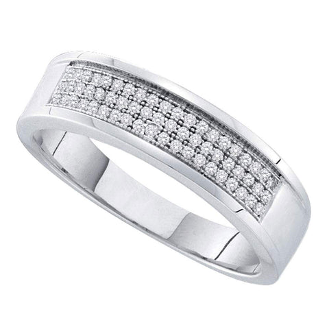 Sterling Silver Mens Round Diamond Band Ring 1/5 Cttw