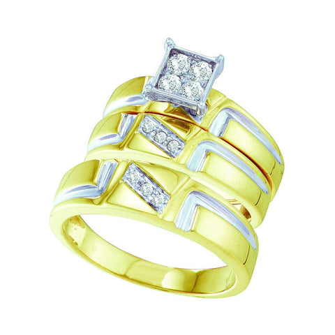 10kt Yellow Gold His Hers Round Diamond Square Matching Wedding Set 1/4 Cttw