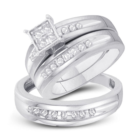 10kt White Gold His Hers Round Diamond Square Matching Wedding Set 1/3 Cttw