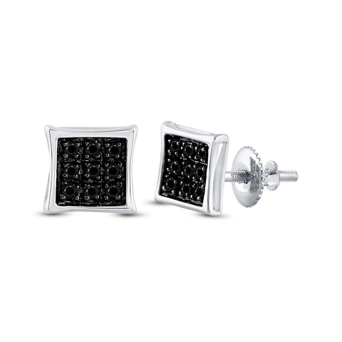 Sterling Silver Mens Round Black Color Enhanced Diamond Square Earrings 1/20 Cttw