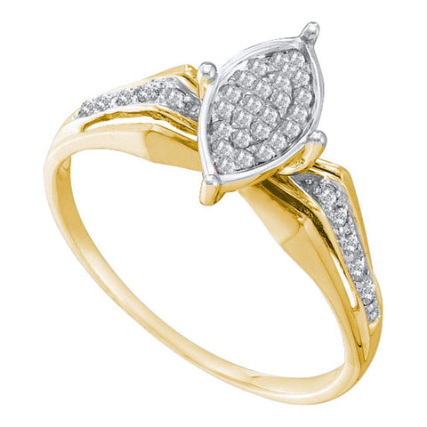10kt Yellow Gold Womens Round Diamond Marquise-shape Cluster Ring 1/8 Cttw