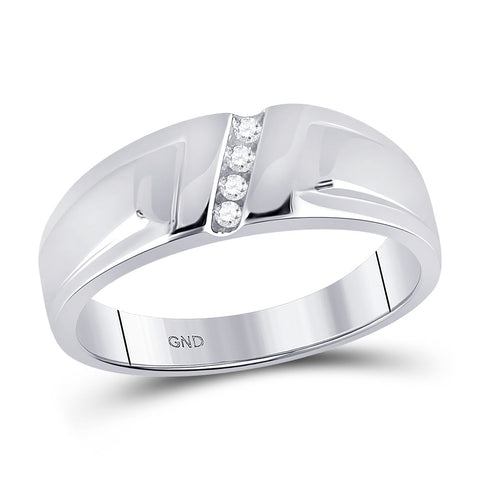 10kt White Gold Mens Round Diamond Band Ring 1/20 Cttw