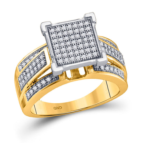 10kt Yellow Gold Womens Round Diamond Square Cluster Ring 1/3 Cttw