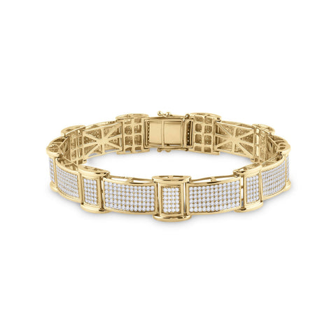 10kt Yellow Gold Mens Round Diamond Rectangle Link Bracelet 2-5/8 Cttw