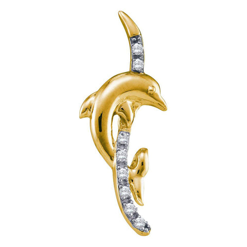 10kt Yellow Gold Womens Round Diamond Dolphin Pendant 1/10 Cttw