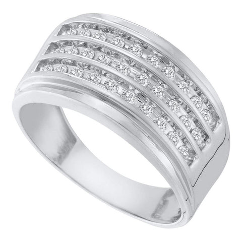 10kt White Gold Mens Round Diamond 3-Row Band Ring 1/2 Cttw