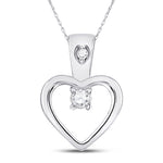 10kt White Gold Womens Round Diamond Small Heart Pendant 1/20 Cttw