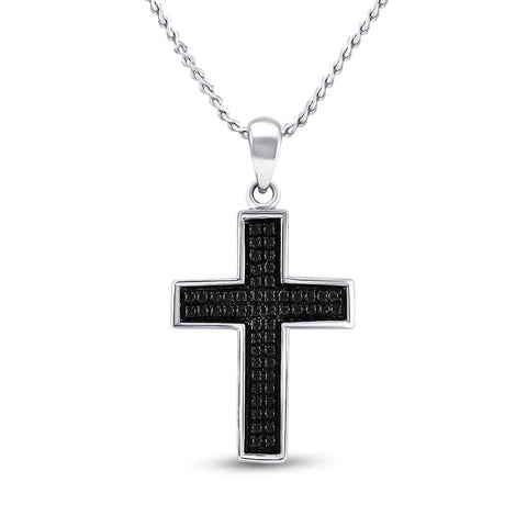 Sterling Silver Mens Round Black Color Enhanced Diamond Cross Charm Pendant 1/6 Cttw