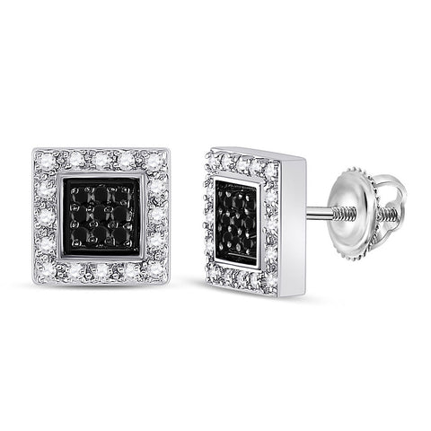 14kt White Gold Womens Round Black Color Enhanced Diamond Square Earrings 1/2 Cttw