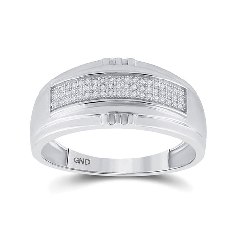 Sterling Silver Mens Round Diamond Band Ring 1/6 Cttw