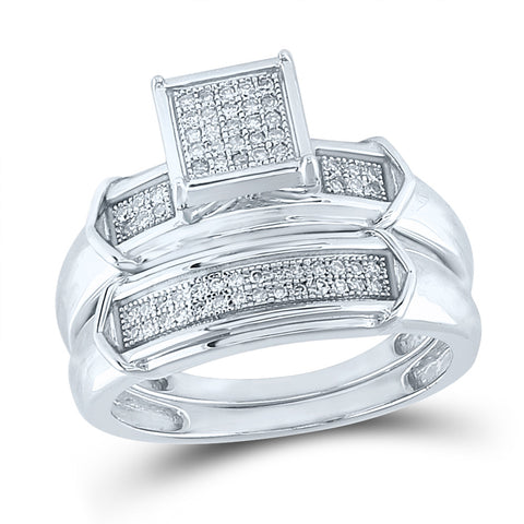 Sterling Silver Round Diamond Square Bridal Wedding Ring Band Set 1/5 Cttw