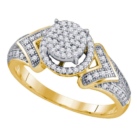 10kt Yellow Gold Womens Round Diamond Cluster Ring 1/3 Cttw
