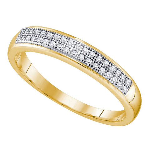 10kt Yellow Gold Womens Round Diamond Pave Band Ring 1/10 Cttw