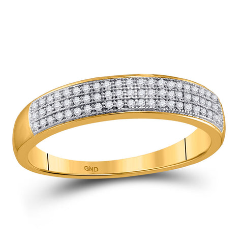 10kt Yellow Gold Mens Round Diamond Pave Band Ring 1/5 Cttw