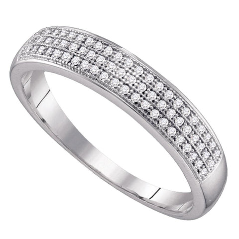 10kt White Gold Mens Round Diamond Wedding Pave Band Ring 1/5 Cttw