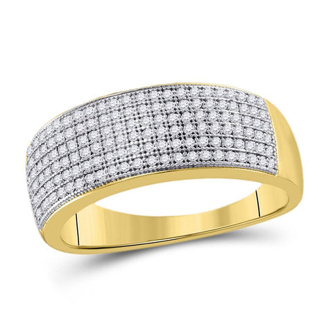 10kt Yellow Gold Mens Round Diamond Pave Band Ring 1/2 Cttw