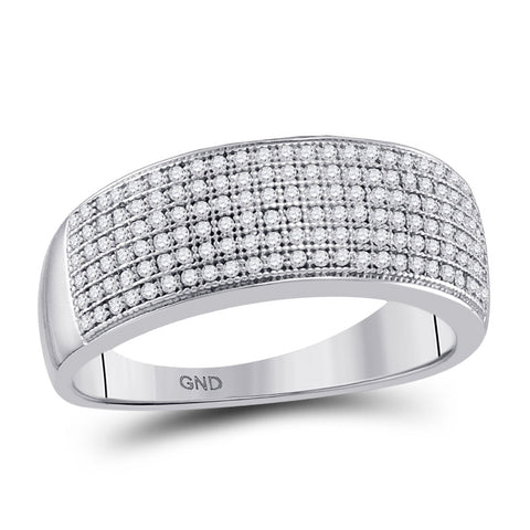 10kt White Gold Mens Round Diamond Wedding Pave Band Ring 1/2 Cttw