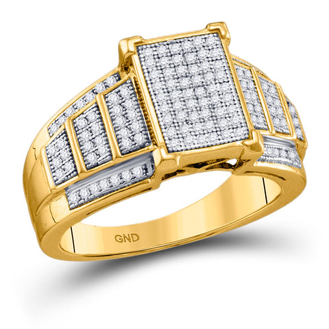 10kt Yellow Gold Womens Round Diamond Rectangle Cluster Ring 1/3 Cttw