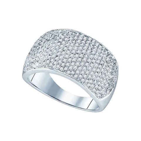 10kt White Gold Womens Round Diamond Pave Band Ring 1 Cttw