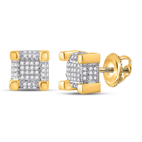10kt Yellow Gold Mens Round Diamond 3D Cube Square Stud Earrings 1/4 Cttw