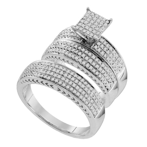 10kt White Gold His Hers Round Diamond Square Matching Wedding Set 1 Cttw