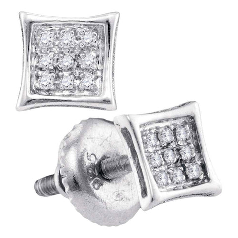 10kt White Gold Mens Round Diamond Kite Cluster Earrings 1/20 Cttw