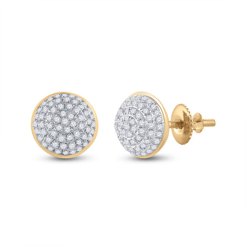 10kt Yellow Gold Mens Round Diamond Cluster Earrings 1/5 Cttw