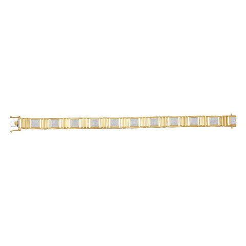 10kt Yellow Gold Mens Round Diamond Square Link Bracelet 1-1/5 Cttw