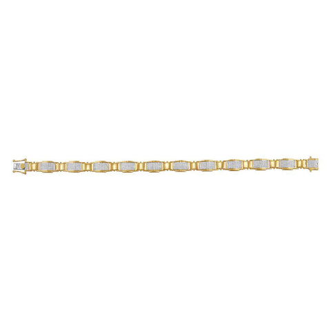 10kt Yellow Gold Mens Round Diamond Link Bracelet 1-1/2 Cttw